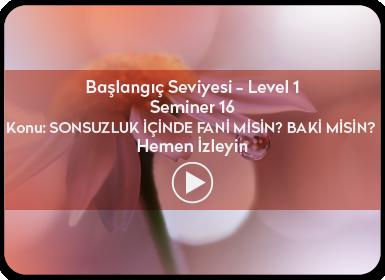Kuantum ve Sufizm ile Öze Yolculuk Başlangıç Seviyesi / Level 1 / Seminer 16